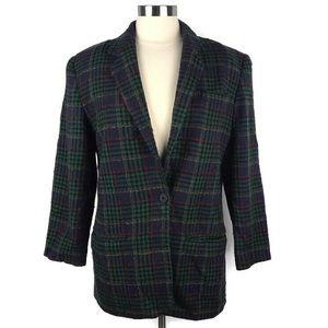 Lands End Vintage Plaid Blazer 100% Wool. Size 8